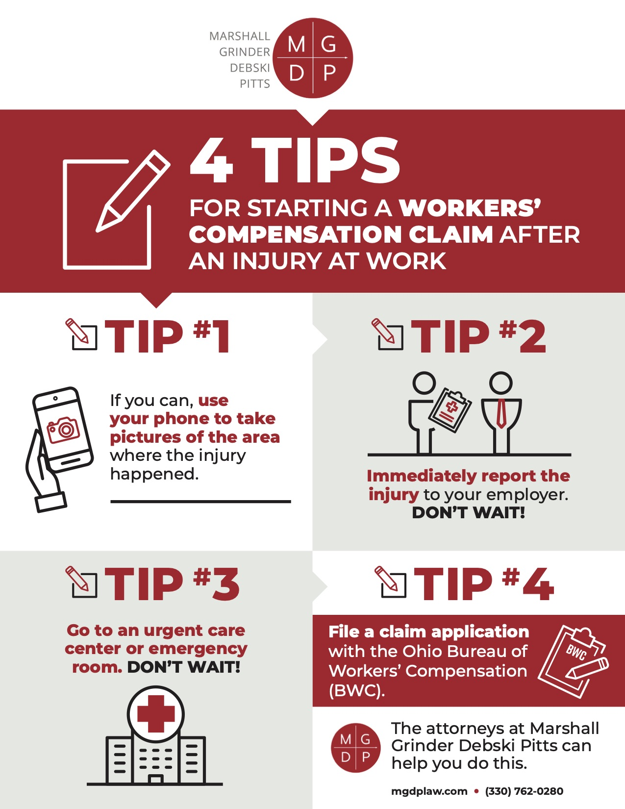 INFOGRAPHIC   4 TIPS FOR STARTING A WORKERS' COMPENSATION CLAIM AFTER AN INJURY AT WORK